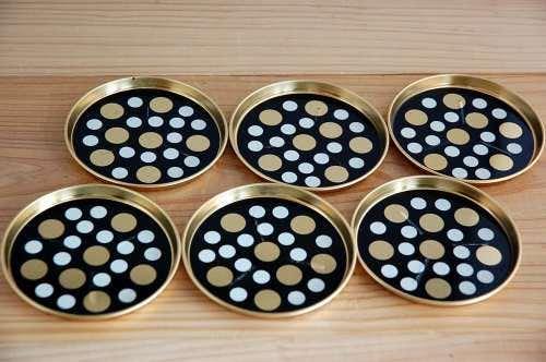 デンマーク製/ブリキのコースター6枚セット(ブラック)の商品写真