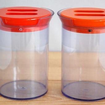 デンマーク製/プラスティックキャニスター2個セット(オレンジ)の商品写真