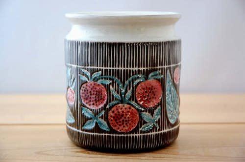 Upsala Ekeby/ウプサラエクビイ/Mari Simmulsonデザイン/イチゴ模様のジャムポットの商品写真