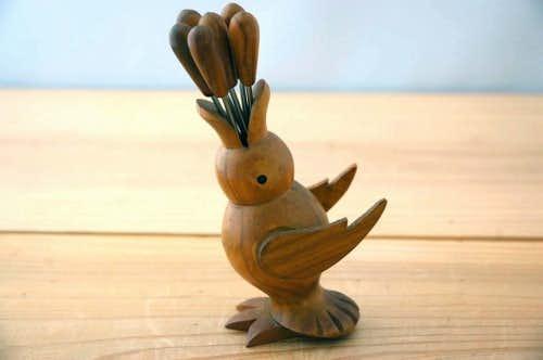 スウェーデンで見つけた形がユニークなフルーツピックセット(鳥)の商品写真