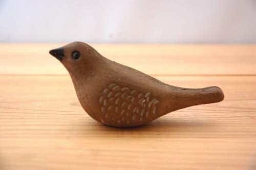 スウェーデンで見つけた陶器の小鳥のオブジェ(ブラウン)の商品写真