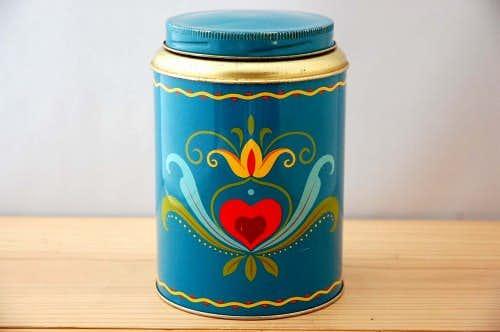 スウェーデンで見つけた古いコーヒー缶(水色)の商品写真