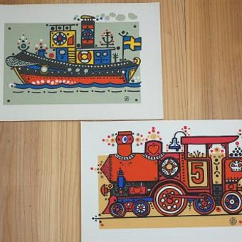 スウェーデンで見つけたキャンバス素材のイラスト2枚セット(船と汽車、A4サイズ)の商品写真
