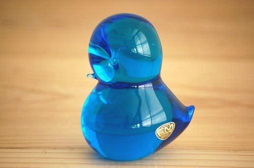 スウェーデンで見つけたガラス製小鳥オブジェ(ブルー大)の商品写真