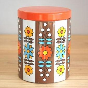 デンマークで見つけた古いブリキ缶(オレンジ&ブラウン、小)の商品写真