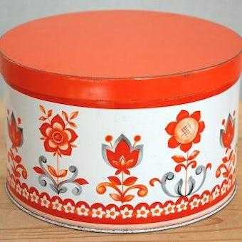 デンマークで見つけた古いブリキ缶(オレンジ、大)の商品写真