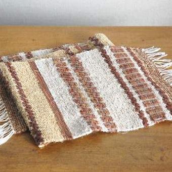 スウェーデンで見つけた裂き織りのマット(ブラウン&ベージュ)の商品写真