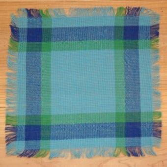 スウェーデンで見つけた織センタークロス(ブルー&グリーン、チェック模様)の商品写真