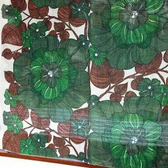 スウェーデンで見つけたヴィンテージカーテン2枚セット(グリーン花柄)の商品写真