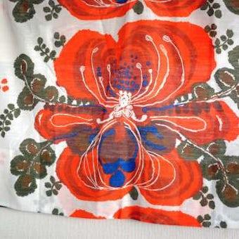 スウェーデンで見つけたヴィンテージカーテン2枚セット(オレンジ花柄)の商品写真