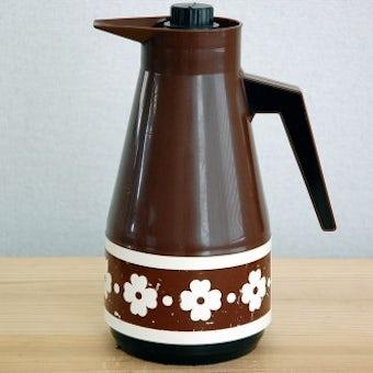 スウェーデンで見つけたプラスティック魔法瓶(ブラウンのお花)の商品写真