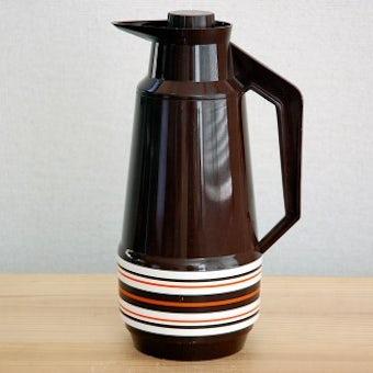 スウェーデンで見つけたプラスティック魔法瓶(ブラウンのボーダー)の商品写真