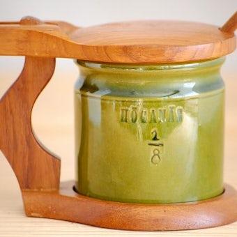スウェーデン/HOGANAS/ホガナス/木製カバー付きマスタードポット(木ベラ付き)の商品写真