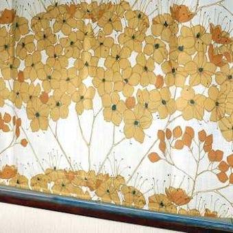 スウェーデンで見つけたヴィンテージカーテン1枚のみ(ブラウン花模様)の商品写真