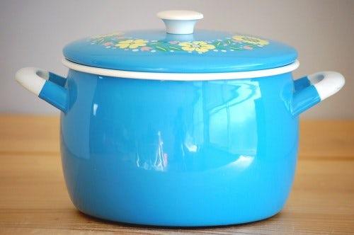 KOCKUMS/コクムス/ホーロー両手鍋(ブルー花柄)の商品写真