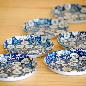 デンマークで見つけたブリキのコースター6枚セット(ブルー小花模様)の商品写真