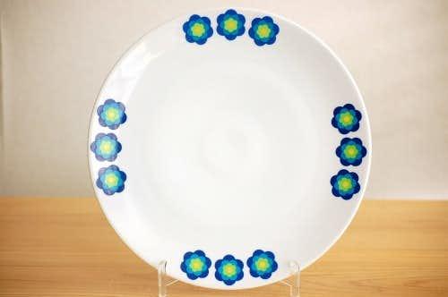 デンマークで見つけた大きなサービングプレート(ブルーのお花)の商品写真