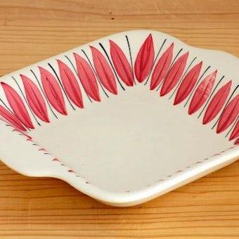 スウェーデン/JIE釜/スクエア深皿(ピンクの葉っぱ)の商品写真