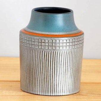 Upsala Ekeby/ウプサラエクビイ/Mari Simmulson/陶器の花瓶(グレー&オレンジライン)の商品写真