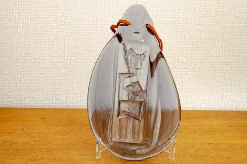これはレア!!/スウェーデン/Erik Hoglune/エリック・ホグラン/ガラスの壁飾り(オーナメント)革紐付きの商品写真