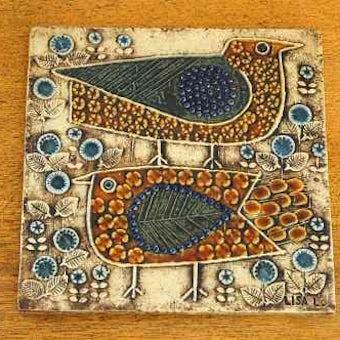 これはレア!!/GUSTAVSBERG/グスタフスベリ/リサ・ラーソン/陶板の壁掛け(二羽の鳥)の商品写真
