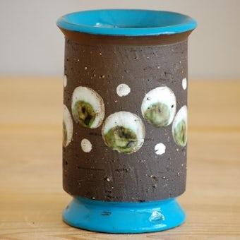 スウェーデンで見つけた陶器の花瓶(ターコイズブルー)の商品写真