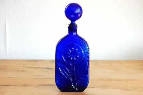 デンマークで見つけたガラスボトル(ブルー・大)の商品写真