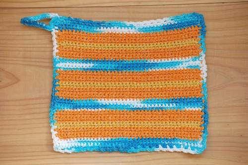 スウェーデンで見つけた手編みのポットマット(ブルー&オレンジ)の商品写真