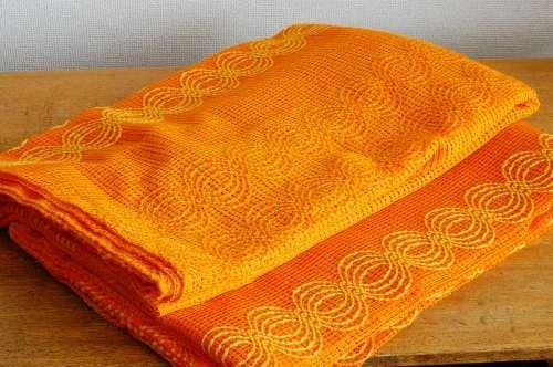 スウェーデンで見つけたヴィンテージカーテン2枚セット(オレンジ)の商品写真