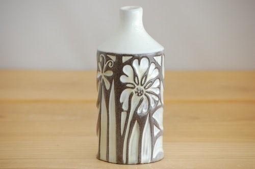 Upsala Ekeby/ウプサラエクビイ/Mari Simmulson/陶器の花瓶(ホワイト&ブラウンの植物)の商品写真