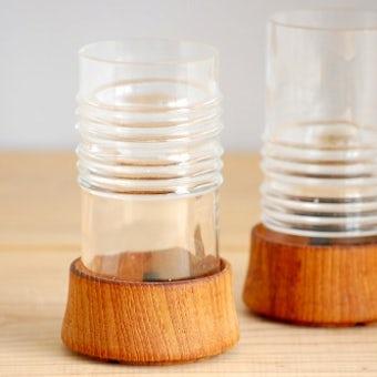 デンマークで見つけたガラスのキャンドルホルダー2個セット(チーク台付き)の商品写真