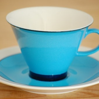ARABIA/アラビア/HARLEKIN/鮮やかなブルーのコーヒーカップ&ソーサーの商品写真