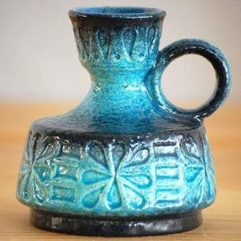 デンマークで見つけた陶器の花瓶(ブルー)の商品写真