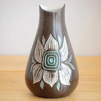 これはレア!!/Upsala Ekeby/ウプサラエクビイ/Mari Simmulson/花瓶(大輪のブルーの花)の商品写真