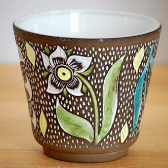 超レア!!/Upsala Ekeby/ウプサラエクビイ/Mari Simmulson/絵付けが美しい植木鉢の商品写真