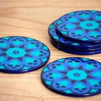 スウェーデンで見つけたブリキのコースター6枚セット(ブルー)の商品写真