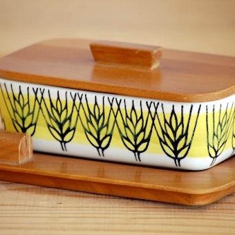 スウェーデン/JIE釜/Anita Nylund/アニタ・ニールンド/木製トレーつき陶器のバターケースの商品写真