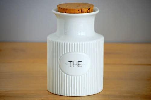 デンマークで見つけた陶器の紅茶キャニスター(ホワイト)の商品写真