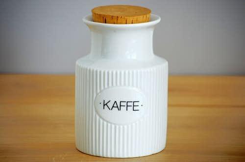 デンマークで見つけた陶器のコーヒーキャニスター(ホワイト)の商品写真