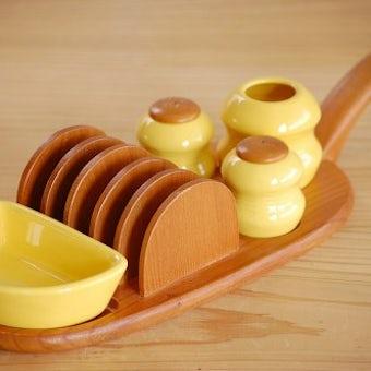 スウェーデン/JIE釜/調味料入れセット付き木製トーストスタンドの商品写真