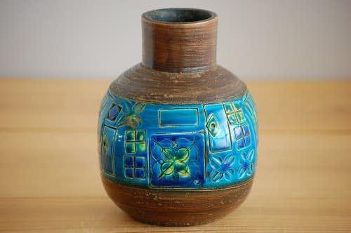 デンマークで見つけた美しい陶器の花瓶(ターコイズブルー)の商品写真