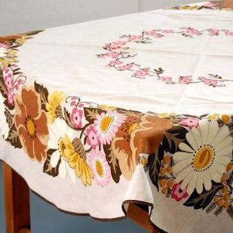 Almedahls/アルメダールス/ヴィンテージのテーブルクロス(丸型・花柄)の商品写真