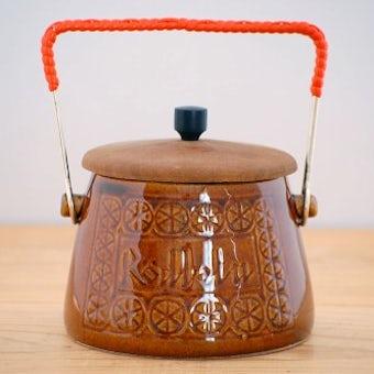 スウェーデンで見つけた持ち手&木蓋付き陶器のポット(ビート)の商品写真