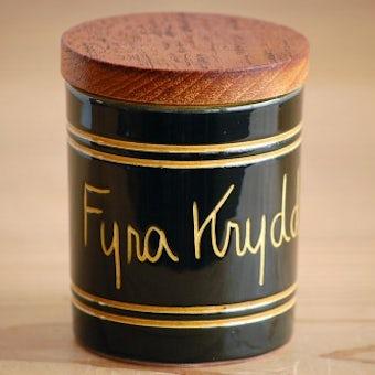 スウェーデンで見つけた木蓋付きスパイスポット/Fyra Kryddor(4つのハーブ)の商品写真