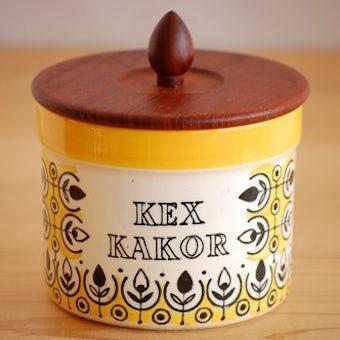 スウェーデン/JIE釜/木蓋付きクッキーキャニスター(イエロー)の商品写真