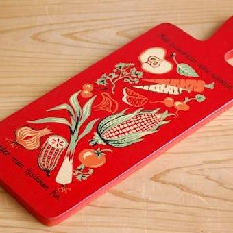 デンマークで見つけたカッティングボード(レッド・野菜柄)の商品写真