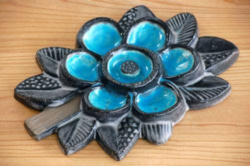 Upsala Ekeby/ウプサラエクビイ/陶板の壁掛け(青いお花)の商品写真