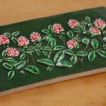 スウェーデン/JIE釜/陶板の壁掛け(ピンク色のお花)の商品写真