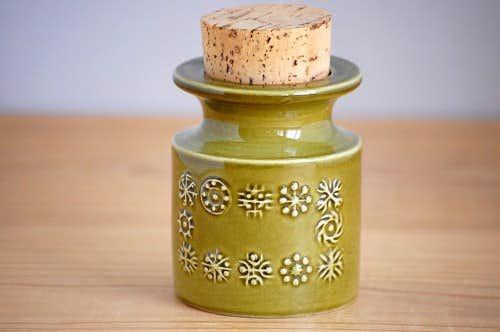デンマークで見つけた陶器のキャニスター(コルク蓋付き)の商品写真