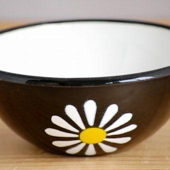 デンマークで見つけたホーロー製のボウル(ブラック・花柄)の商品写真